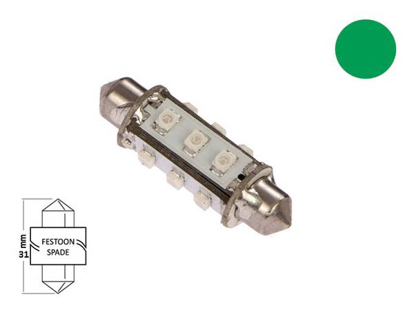 Bilde av LED pære festoon 31mm 19-35V 60lm, kaldhvit